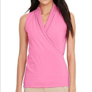 LAUREN Ralph Lauren Pink Faux Wrap Sleeveless Top